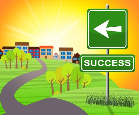 triumphant: Success Sign Representing Triumphant Victory 3d Illustration