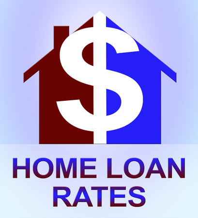 Home Loan Rates Dollar Icon Represents Housing Credit 3d Illustration