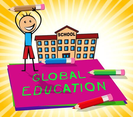 globally: Global Education Paper Displays World Learning 3d Illustration Stock Photo