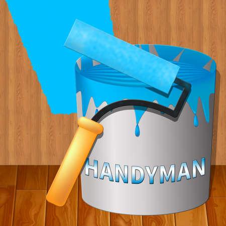 House Handyman Paint Represents Home Repairman 3d Illustration