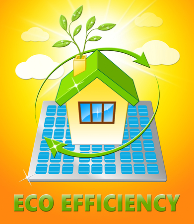 Eco Efficiency House Displays Earth Nature 3d Illustration