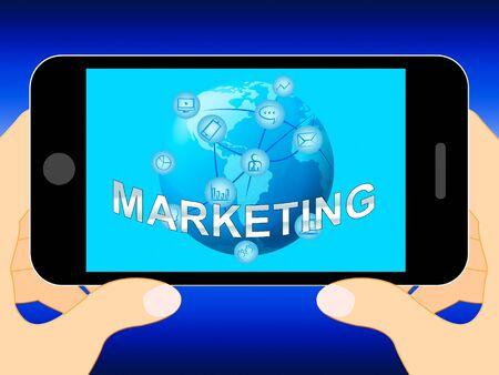 Online Marketing Mobile Phone Shows Market Promotions 3d Illustration Banco de Imagens