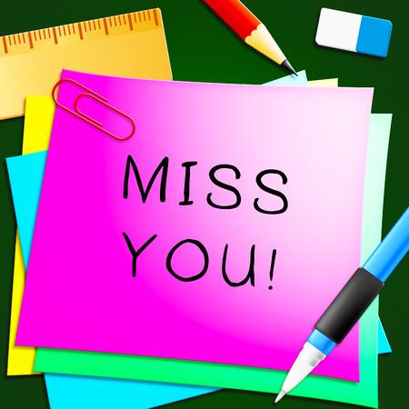 Miss You Note vertegenwoordigt liefde en verlangen 3d illustratie