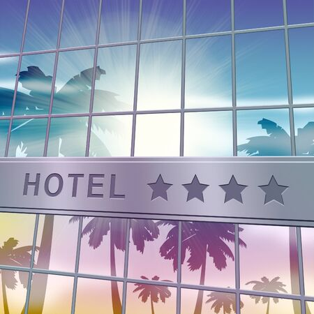 reservation: Hotel Lodging Facade Showing Holiday Vacation 3d Illustration