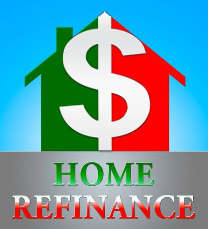 refinancing: Home Refinance Dollar Icon Showing Equity Mortgage 3d Illustration Stock Photo
