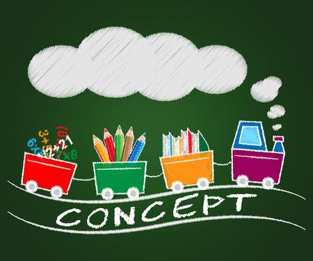 Diseño concepto tren significa ideas teoría 3d ilustración