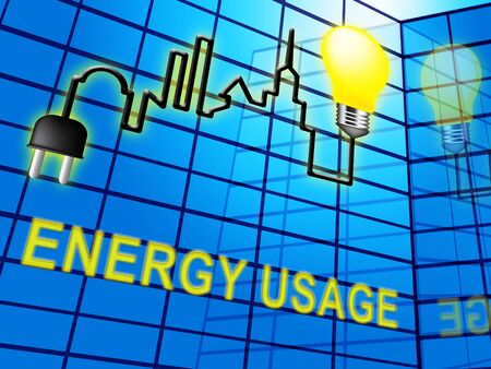 Energy Usage Lightbulb Means Power Use 3d Illustration