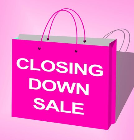 Closing Down Sale Bag Shows Closing Bargains 3d Illustration