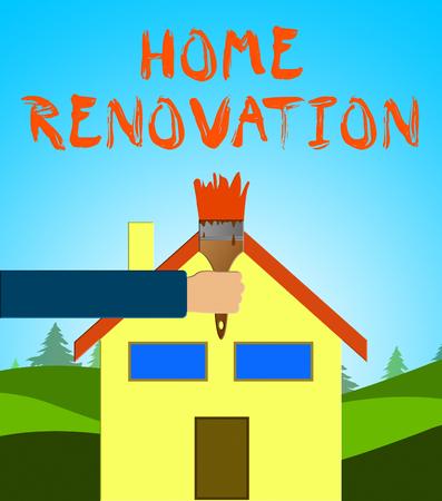renovate: Home Renovation Paintbrush Means House Improvement 3d Illustration