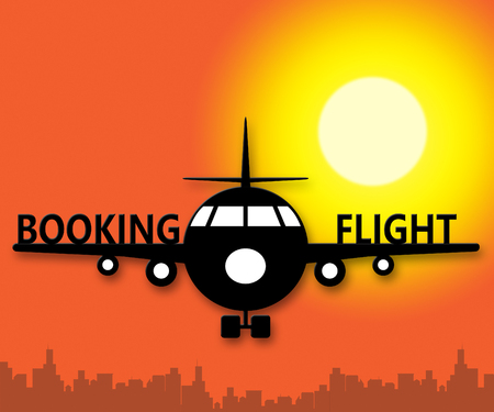 reservation: Booking Flight Plane Showing Trip Reservation 3d Illustration Stock Photo