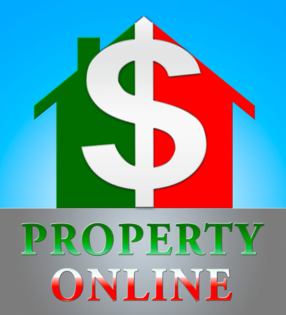 Property Online Dollar Icon Indicating Real Estate 3d Illustration Stock Photo
