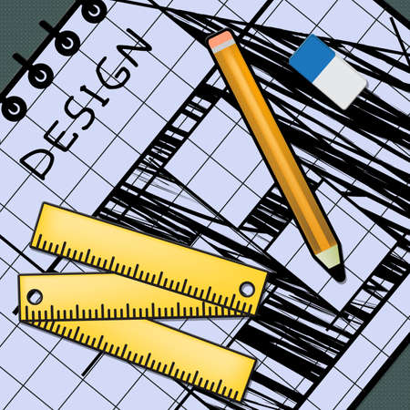 Creative Design Equipment Representing Graphic Innovation 3d Illustration Stok Fotoğraf