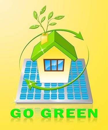 Go Green House Displays Ecology Friendly 3d Illustration