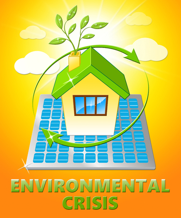 environmental issues: Environmental Crisis House Displays Eco Problems 3d Illustration