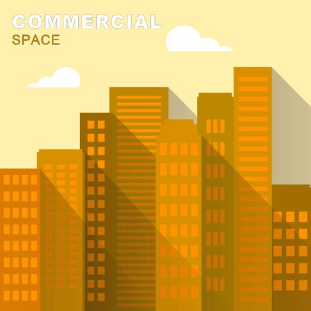 Commercial Space Downtown Describing Real Estate 3d Illustration
