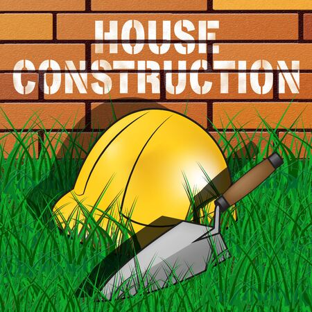 represents: House Construction Builders Hat Represents Home Building 3d Illustration