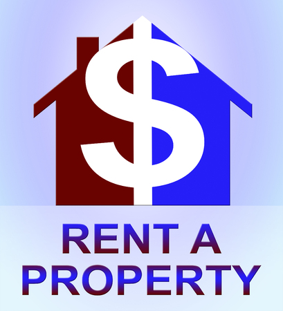 Rent A Property Dollar Icon Represents House Rental 3d Illustration Stock Photo