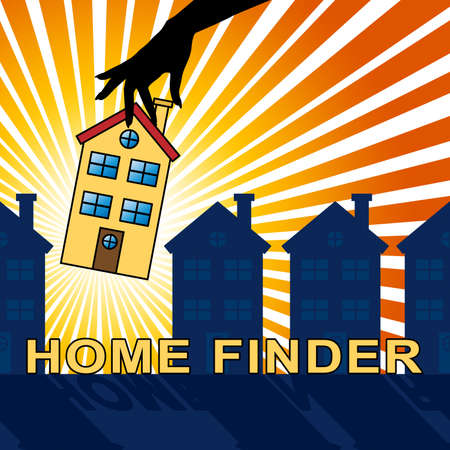 searches: Home Finder House Indicates Housing Residence 3d Illustration Stock Photo