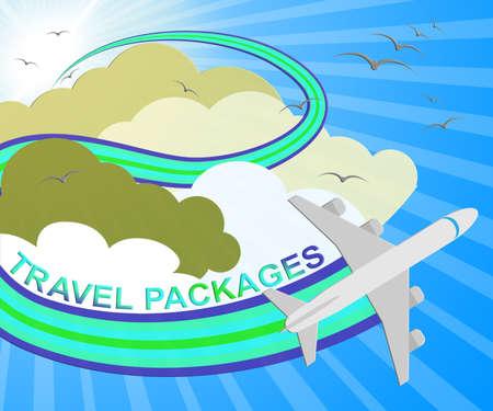 Travel Packages Plane Represents Getaway Tours 3d Illustration