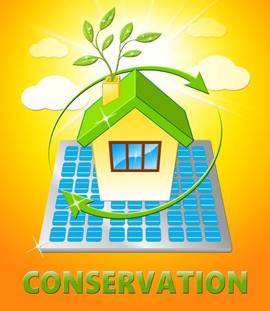 Conserve House Displays Natural Preservation 3d Illustration Stock Photo