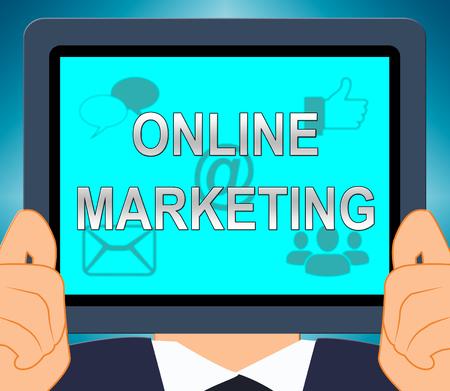 Online Marketing Shows Market Promotions 3d Illustration