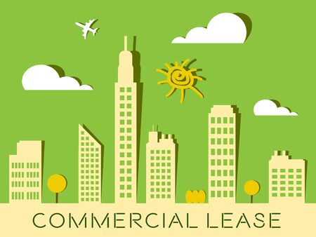 represents: Commercial Lease Skyscrapers Represents Real Estate Buildings 3d Illustration Stock Photo