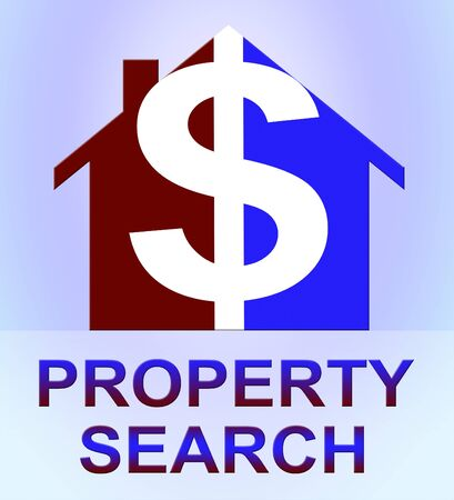 searches: Property Search Dollar Icon Represents Find Property 3d Illustration