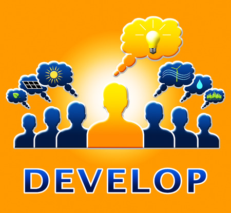 Develop People Bulb Meaning Growth Progress 3d Illustration Stock Photo
