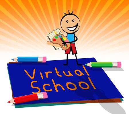 Virtual School Paper Displays Learning And Education 3d Illustration Stock Photo