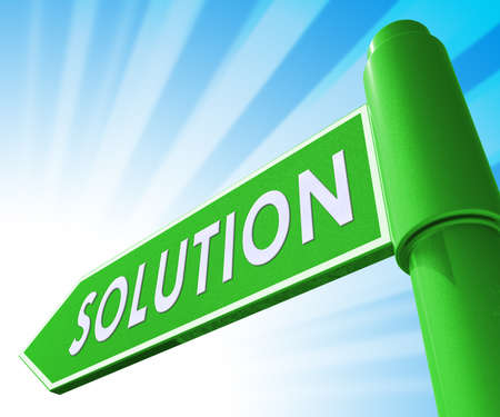Solution Road Sign Showing Solving Successful 3d Illustration Stock Photo