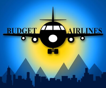 Budget Airlines Plane Showing Special Offer Flights 3d Illustration Stock Photo