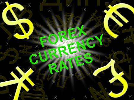 Currency Rates Indicating Foreign Exchange Symbols 3d Illustration Banco de Imagens