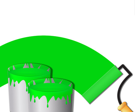 Green Paint Represents House Painting 3d Illustration Stock Photo