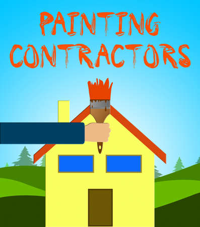 Painting Contractors Paintbrush Shows Paint Contract 3d Illustration Stock Photo