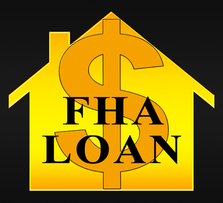 loaning: FHA Loan Dollar Icon Shows Federal Housing Administration 3d Illustration