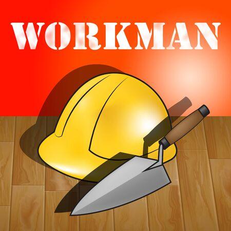 labourer: Workman Laborer Builders Hat Representing Building Worker 3d Illustration