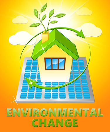 Environmental Change House Displays Ecology Effect 3d Illustration Stock Photo