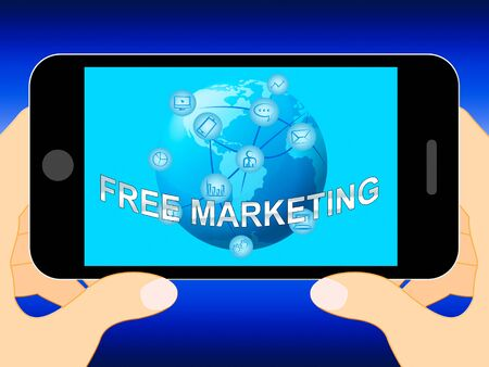 emarketing: Free Marketing Mobile Phone Represents Biz EMarketing 3d Illustration