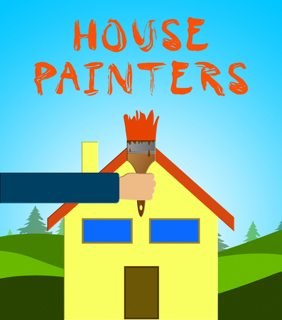 House Painters Paintbrush Means Home Painting 3d Illustration