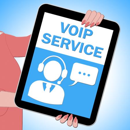 Voip Service Tablet Shows Internet Help 3d Illustration Stock Photo