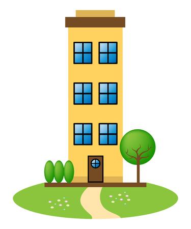Apartment Building Icon Represents Condo Property 3d Illustration