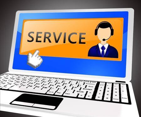 Service Laptop Means Help Support 3d Illustration