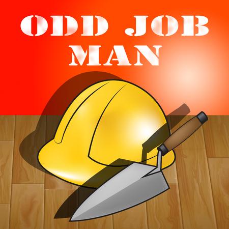 Odd Job Man Builders Hat Represents House Repair 3d Illustration