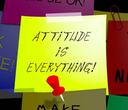 Attitude Is Everything Note Displays Happy Positive 3d Illustration