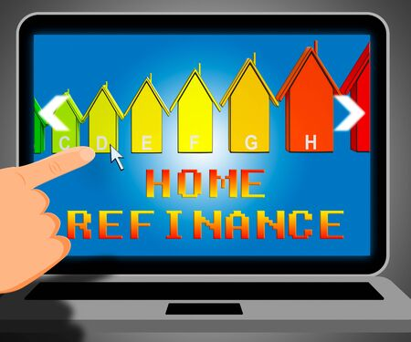 refinancing: Home Refinance Laptop Representing Equity Mortgage 3d Illustration