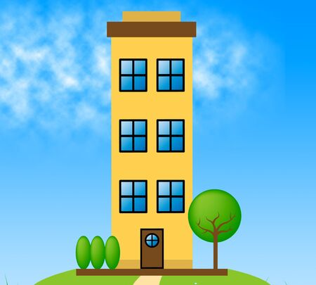 Countryside Apartment Building Meaning Condo Property 3d Illustration