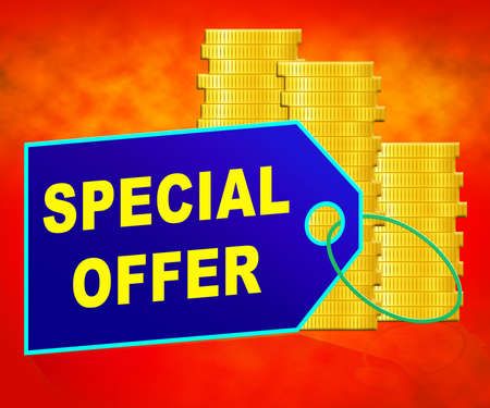 noteworthy: Special Offer Coins Representing Big Reductions 3d Illustration