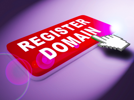 Register Domain Key Indicates Sign Up 3d Rendering Imagens - 77478018
