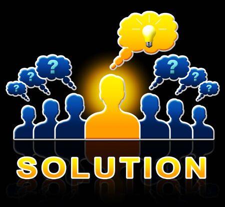 Oplossingsmensen vertegenwoordigen het Oplossen van Succesvolle en Resolutie 3d Illustratie