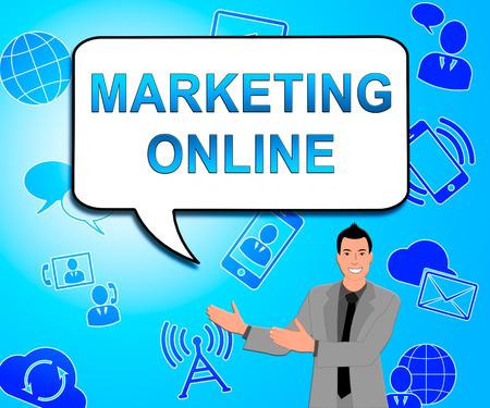 Marketing Online Icons Means Market Promotions 3d Illustration